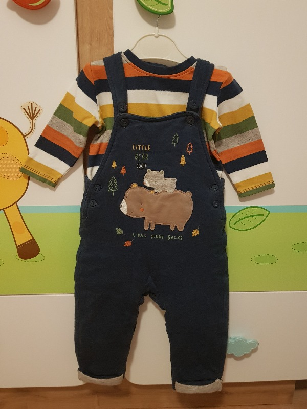 Mothercare dolgulu salopet ve body set